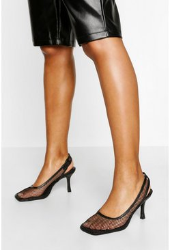 Black Mesh Low Heel Slingback Courts