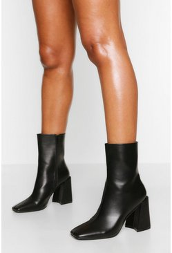 Black Flare Heel Sock Boot