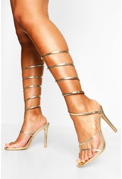 Gold metallic Extreme Wrap Around Strap Square Toe Stiletto Heels