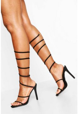 Black Extreme Wrap Around Strap Square Toe Stiletto Heels