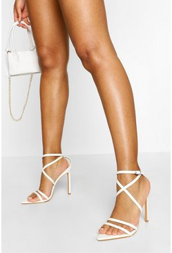 White Pointed Toe Strappy Stiletto Heels