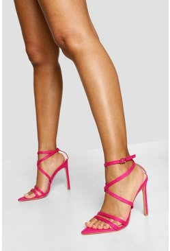 Pink Pointed Toe Strappy Stiletto Heels