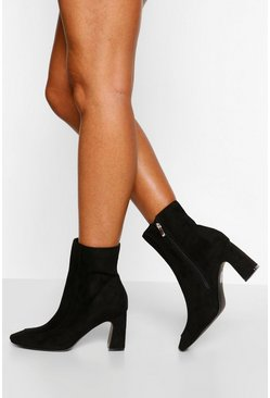 Black Low Curved Heel Shoe Boot
