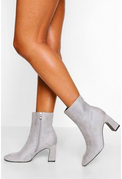 Stone beige Low Curved Heel Shoe Boot
