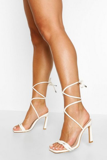 White Twist Strap Square Toe Stiletto Heels