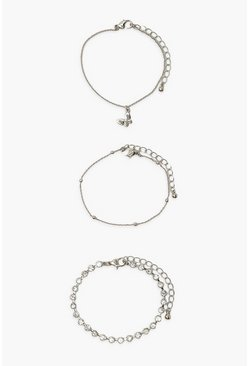 Silver 3 Pack Butterfly Anklet