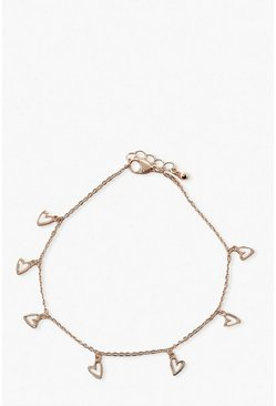 Gold Heart Drop Anklet