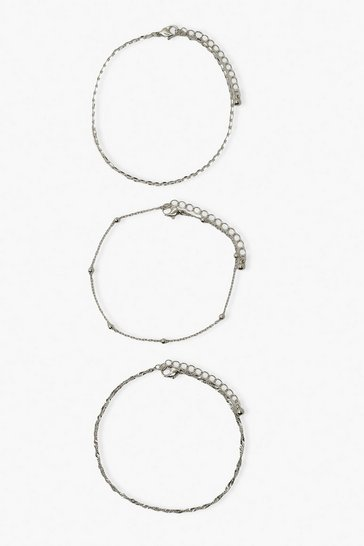 Silver Diamante and Chain 3 Pack Anklet
