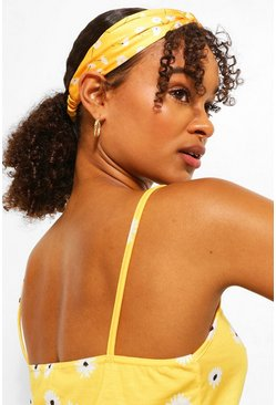 Yellow Floral Twist Satin Stretch Headband