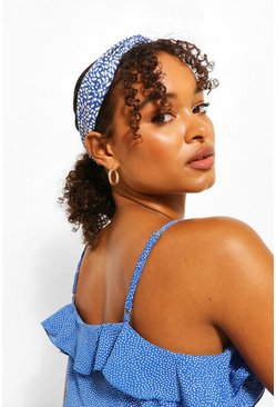 Blue Daisy & Spot Twist Stretch Headband