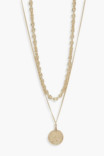 Gold Chunky Chain Layered Coin Necklace