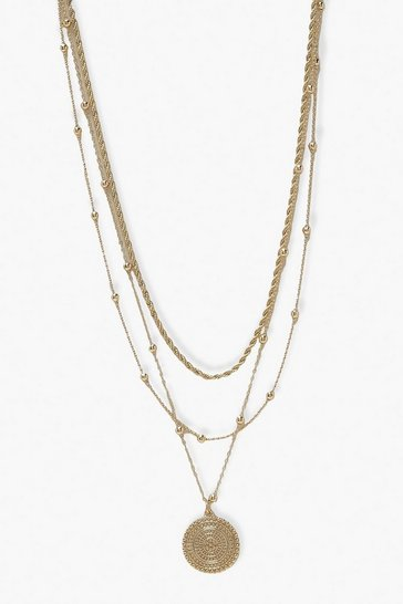 Gold Triple Layer Coin Detail Necklace