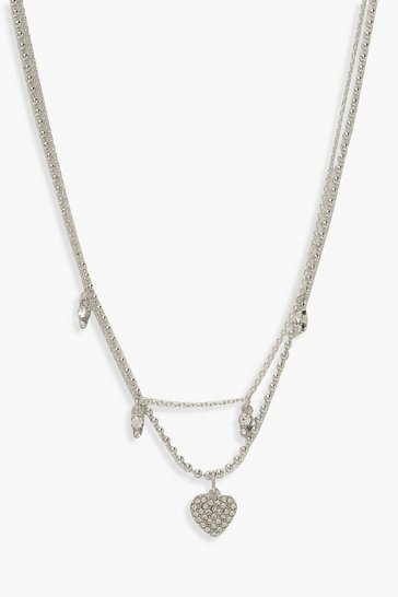 Silver Diamante Heart Layered Chain Choker