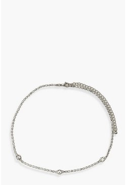 Silver Diamante Chain Choker