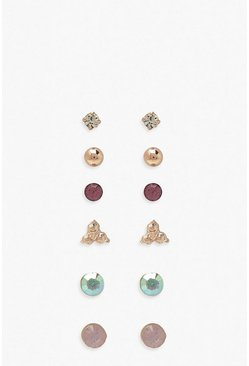 Gold Multi Stud And Diamante 6 Pack Earrings