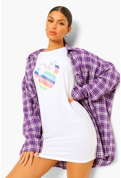 White Disney Rainbow Minnie T-Shirt Dress