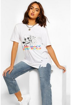"Disney T-Shirt im Destroyed-Look mit ""EQUALITY""-Print, Weiß"