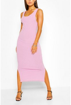 Lilac Scoop Back Rib Maxi Dress