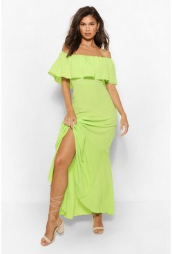 Lime green Woven Off The Shoulder Maxi Dress