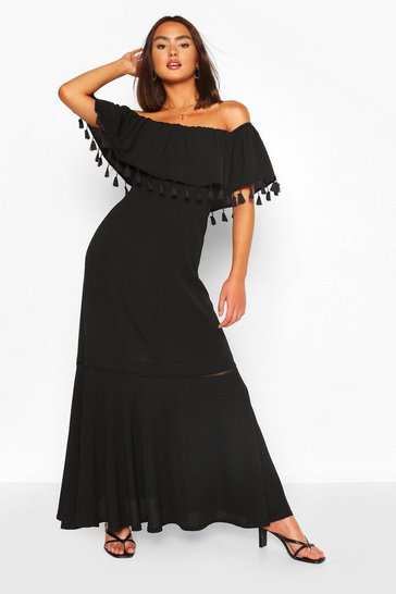 Black Tassel Trim Off The Shoulder Maxi Dress