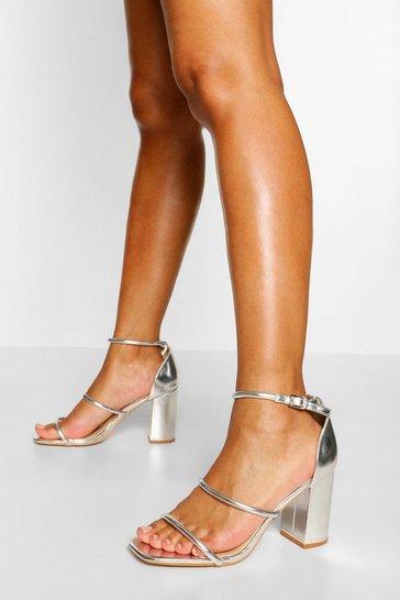 Silver Triple Strap Block Heel Sandals