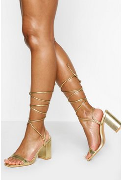 Gold Ankle Wrap Two Part Block Heels