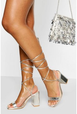 Silver Ankle Wrap Two Part Block Heels