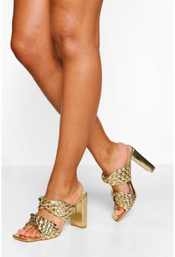 Gold metallic Woven Double Strap Block Heel Mules