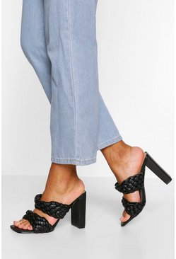 Black Woven Double Strap Block Heel Mules