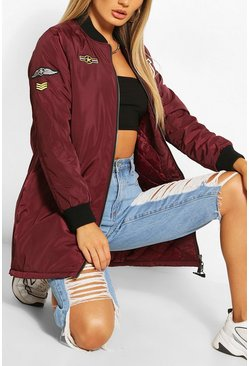 Burgundy red Badge Detail Bomber Jacket