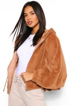 Camel beige Teddy Faux Fur Oversized Bomber Jacket