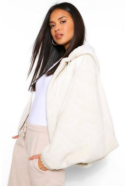 Cream white Teddy Faux Fur Oversized Bomber Jacket