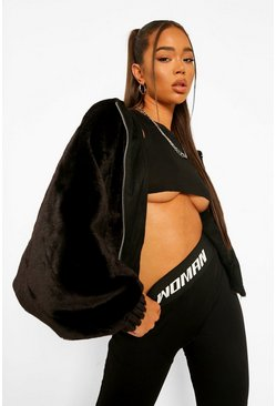 Black Soft Faux Fur Oversized Bomber Jacket