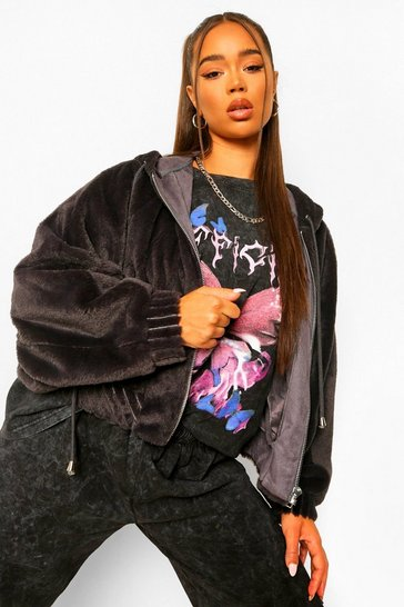 Charcoal grey Soft Faux Fur Oversized Bomber Jacket