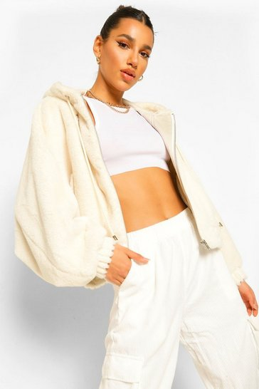 Cream white Soft Faux Fur Oversized Bomber Jacket