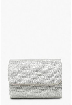 Silver Structured Metallic Clutch Bag & Chain