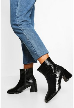 Black Wide Fit Low Heel Square Toe Shoe Boot