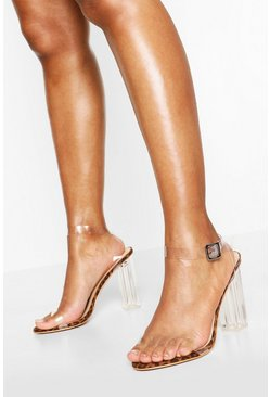 Leopard Wide Fit Clear Barely There Heels