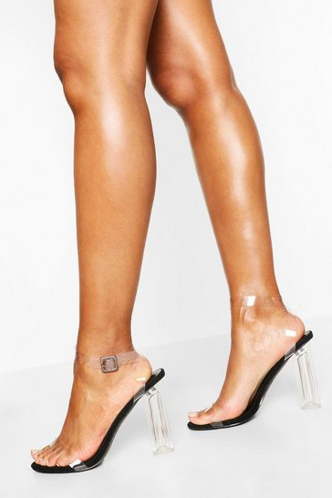Black Wide Fit Clear Barely There Heels