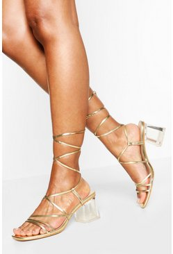 Gold Wide Fit Clear Heel Wrap Strap Sandal