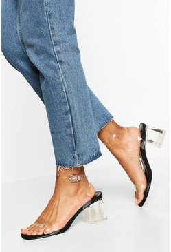 Black Wide Fit Low Clear Barely There Heels