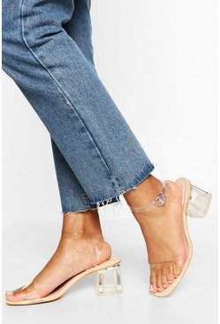 Nude Wide Width Low Clear Barely There Heels