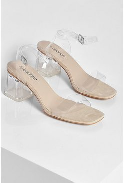 Nude Wide Fit Low Clear Barely There Heels