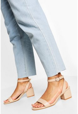 Nude Wide Fit Basic Low Block Heel