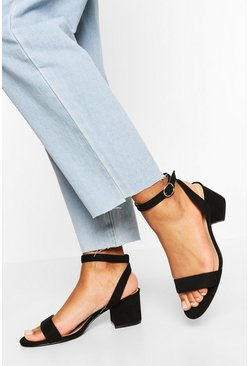 Black Wide Fit Basic Low Block Heel