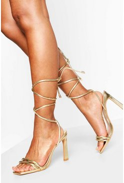 Gold Wide Fit Tie Up Stiletto Sandal