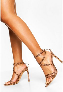 Leopard multi Wide Fit Pointed Toe Strappy Heel