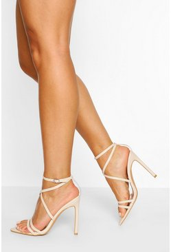 Nude Wide Fit Pointed Toe Strappy Heel