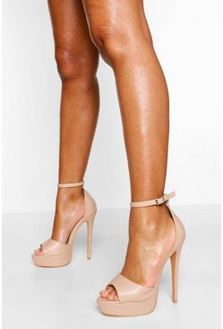 Nude Wide Fit Stiletto Platform