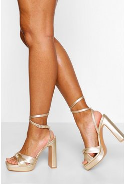 Gold metallic Wide Fit Knot Front Platform